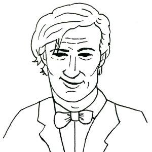 Line drawing of the eleventh Dr Who.