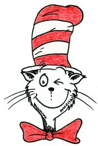 Drawing of the Cat in the Hat winking.