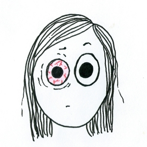Cartoon of a girl with one bloodshot, squinty eye.