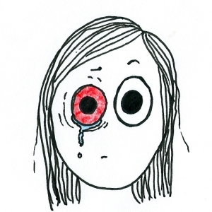 Cartoon of a girl with an even more bloodshot and squinty eye.
