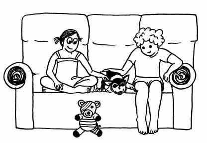 Cartoon of a dog lying on the lounge contentedly between two kids.