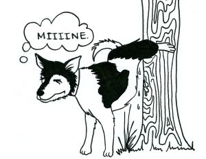 Cartoon of a dog straining to urinate a few drops on a tree and thinking, 'Miiiine.'