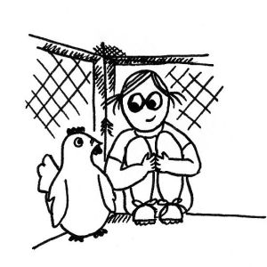 Cartoon of a little girl curled up into a tight space, looking fondly at a chicken.
