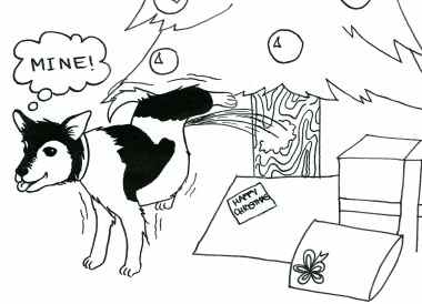Cartoon of a dog urinating against a Christmas tree and thinking, 'Mine.'